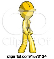 Yellow Construction Worker Contractor Man Walking Turned Right Front View