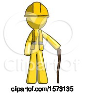 Yellow Construction Worker Contractor Man Standing With Hiking Stick