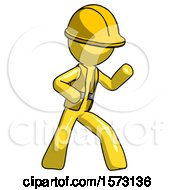 Yellow Construction Worker Contractor Man Martial Arts Defense Pose Right