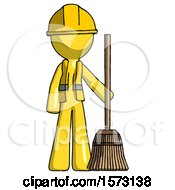 Yellow Construction Worker Contractor Man Standing With Broom Cleaning Services