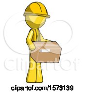 Yellow Construction Worker Contractor Man Holding Package To Send Or Recieve In Mail