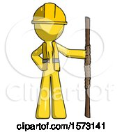 Yellow Construction Worker Contractor Man Holding Staff Or Bo Staff