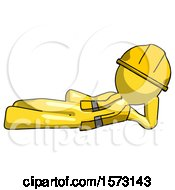 Yellow Construction Worker Contractor Man Reclined On Side