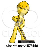 Yellow Construction Worker Contractor Man Cleaning Services Janitor Sweeping Floor With Push Broom