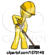 Yellow Construction Worker Contractor Man Cleaning Services Janitor Sweeping Side View