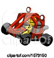Yellow Construction Worker Contractor Man Riding Sports Buggy Side Top Angle View