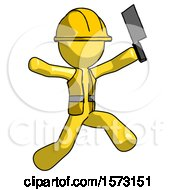Yellow Construction Worker Contractor Man Psycho Running With Meat Cleaver