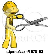 Yellow Construction Worker Contractor Man Holding Giant Scissors Cutting Out Something
