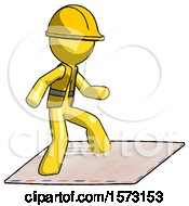 Yellow Construction Worker Contractor Man On Postage Envelope Surfing