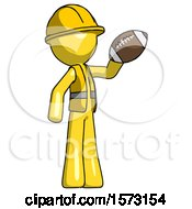 Yellow Construction Worker Contractor Man Holding Football Up