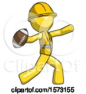 Yellow Construction Worker Contractor Man Throwing Football