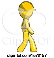 Yellow Construction Worker Contractor Man Walking Right Side View