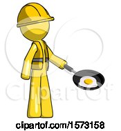 Yellow Construction Worker Contractor Man Frying Egg In Pan Or Wok Facing Right