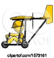 Yellow Construction Worker Contractor Man In Ultralight Aircraft Side View