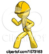 Yellow Construction Worker Contractor Man Martial Arts Defense Pose Left