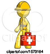 Yellow Construction Worker Contractor Man Walking With Medical Aid Briefcase To Left