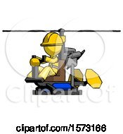 Yellow Construction Worker Contractor Man Flying In Gyrocopter Front Side Angle View