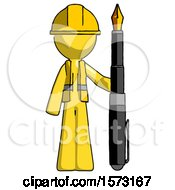 Yellow Construction Worker Contractor Man Holding Giant Calligraphy Pen