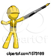 Yellow Construction Worker Contractor Man Pen Is Mightier Than The Sword Calligraphy Pose