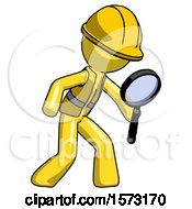 Yellow Construction Worker Contractor Man Inspecting With Large Magnifying Glass Right