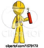 Yellow Construction Worker Contractor Man Holding Dynamite With Fuse Lit