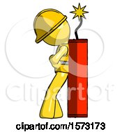Yellow Construction Worker Contractor Man Leaning Against Dynimate Large Stick Ready To Blow