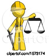 Yellow Construction Worker Contractor Man Justice Concept With Scales And Sword Justicia Derived