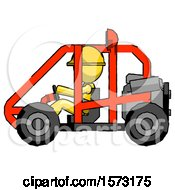 Yellow Construction Worker Contractor Man Riding Sports Buggy Side View