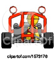 Yellow Construction Worker Contractor Man Riding Sports Buggy Front View