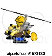 Yellow Construction Worker Contractor Man Flying In Gyrocopter Front Side Angle Top View