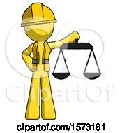 Yellow Construction Worker Contractor Man Holding Scales Of Justice
