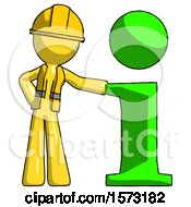 Yellow Construction Worker Contractor Man With Info Symbol Leaning Up Against It