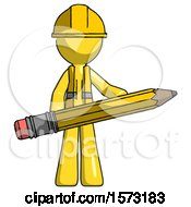 Yellow Construction Worker Contractor Man Writer Or Blogger Holding Large Pencil