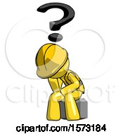 Yellow Construction Worker Contractor Man Thinker Question Mark Concept