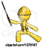 Yellow Construction Worker Contractor Man With Ninja Sword Katana In Defense Pose