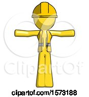 Yellow Construction Worker Contractor Man T Pose Arms Up Standing