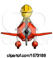 Yellow Construction Worker Contractor Man In Geebee Stunt Plane Front View