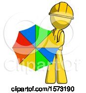 Yellow Construction Worker Contractor Man Holding Rainbow Umbrella Out To Viewer