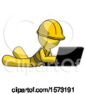 Yellow Construction Worker Contractor Man Using Laptop Computer While Lying On Floor Side Angled View