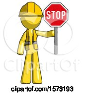 Yellow Construction Worker Contractor Man Holding Stop Sign