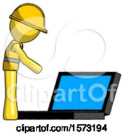 Yellow Construction Worker Contractor Man Using Large Laptop Computer Side Orthographic View