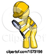 Yellow Construction Worker Contractor Man Inspecting With Large Magnifying Glass Left