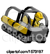 Yellow Construction Worker Contractor Man Driving Amphibious Tracked Vehicle Top Angle View