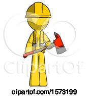 Yellow Construction Worker Contractor Man Holding Red Fire Fighters Ax