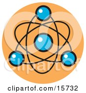 Atom With Blue Spheres Clipart Illustration