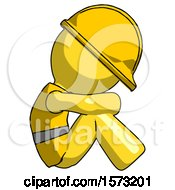 Yellow Construction Worker Contractor Man Sitting With Head Down Facing Sideways Right