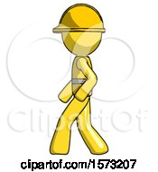 Yellow Construction Worker Contractor Man Walking Left Side View
