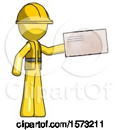 Yellow Construction Worker Contractor Man Holding Large Envelope