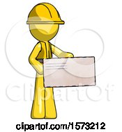 Yellow Construction Worker Contractor Man Presenting Large Envelope