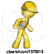 Yellow Construction Worker Contractor Man Suspense Action Pose Facing Right